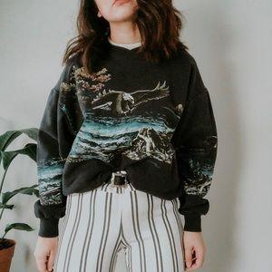 VINTAGE • eagle print hipster crewneck sweatshirt
